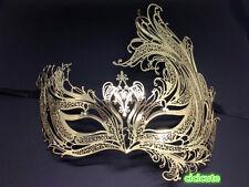 Luxury Angel Gold Metal Filigree Venetian Masquerade Phoenix Mask w/Rhinestones