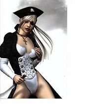 unframed scifi woman pirate  longest side 10  inches (78