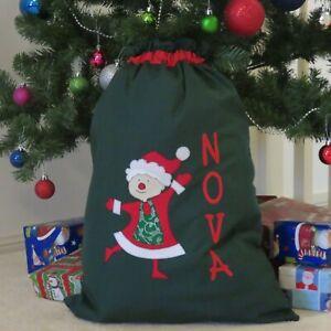 PERSONALISED CHRISTMAS/SANTA SACK - Mrs Claus Design DARK GREEN -