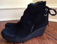 Fly London Yebi Ruched Suede Leather Back Tie Ankle Boots 41 ( 9-9.5 M ) Black