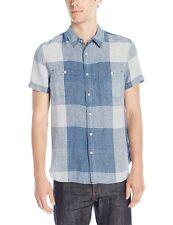 Lucky Brand 100% Linen Blue Mason Men's S/S Workwear Shirt Plaid $80 NEW M