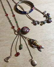 More details for vintage cloisonné handmade bundle: bangle + boho charm bracelet + fish necklace