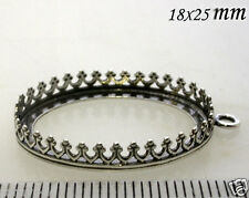 2pcs Oval Bezel Cup 25x18mm Antique Sterling Silver 925 (8394)