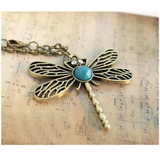 Dragonfly Wings Pendant Vintage Bronze Turquoise Long Chain Necklace US SELLER
