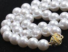 """Fashion 10mm White Akoya Shell Pearl Hand Knotted Round Beads Necklace 18"""" AAA"""