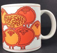 HTF 1970s Hayashi Designer Beth Sheba Sheep Mug Coffee Tea Cup Port Townsend Wa.