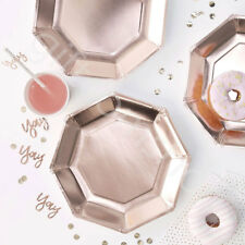 Rose Gold Foiled Paper Plates Birthday Hen Do Disposable Party Tableware - Pk 8