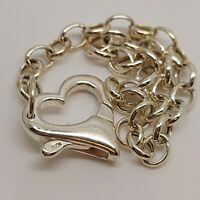"""Solid Sterling Silver 925 bracelet chain 7"""" delicate chic heart jewellery P79"""