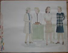 Original Art/Hand-Painted Fashion/Clothing Painting 1943, 1944, 1945, 1946