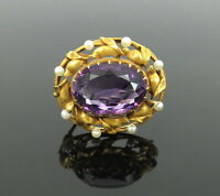 Art Nouveau 10ct Amethyst & Pearls Satin Finished Hand Made 14K Gold Pin
