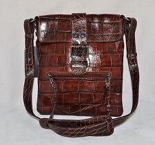Francesco Biasia Magic Sarah Leather Shoulder Bag Purse Handbag Croco Brown New