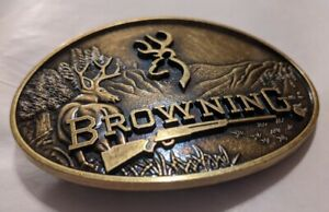 Browning Embossed Metal Browning Logo Belt Buckle Bronze color Beautiful buckle
