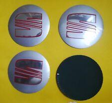 4 Coprimozzo Adesivi Borchie Cerchi in Lega 90mm Seat Ibiza Leon Altea silver