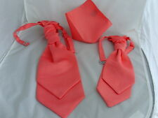 Coral-Salmon New Collection>>Polyester Mens and Boys Cravats-Hankies and in Sets