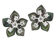 925 ECHT SILBER 🌼 Ohrringe Ohrstecker Blume Perlmutt Paua-Muschel 16 mm