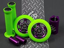 Purple Pro Star Green Metal Core Scooter Wheels x2 +Grips +Pegs +Clamp +GKTape