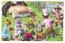 Mainzer postcard Dressed Cats picnic by the lake  # 4922 scalloped edges
