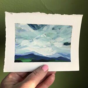 "6x4.5"" Sally J Goodrich Landscape Painting Clouds Blue Gallery Mini Original Art"