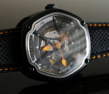 DIETRICH OT-6 ORGANIC TIME 6 BLACK AND ORANGE CRYSTAL SAPHIRE AUTOMATIC WATCH