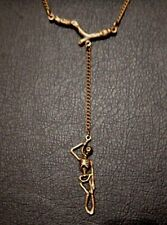 BRONZE HANGMAN NECKLACE hanging tree branch skeleton chain suicide goth death F3
