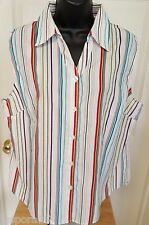 White Stag Woman's Multi Color Striped Sleeveless Button Down Shirt Size XL
