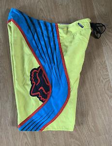 Rare Yellow Blue & Red Striped FOX Racing Co. Hawaiian Surf Board Shorts Sz 33