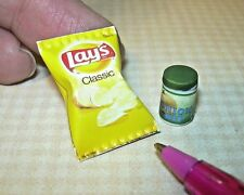 Miniature Classic Potato Chips + Onion Dip Jar: DOLLHOUSE Miniatures 1/12 Scale