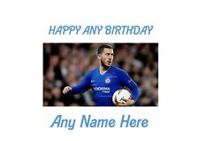 Happy Birthday Eden Hazard Chelsea A4 Personalised EASY PEEL PRECUT Icing Sheet
