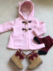 Girl's Winter Size 1 Incl,. Hoodie Jacket, Carter Tights & Fleece Lined Booties