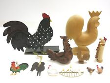 LOT OF 11 VINTAGE ROOSTER CHICKEN FIGURINES WOOD, METAL, CERAMIC, CELLULOID ETC.