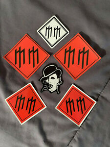 """Lot (6) MARILYN MANSON 1 3/4"""" to 3 1/2""""  Band Logo Stickers Red Black FAST! FREE"""