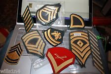 Collection of about 75 US military enlisted rank patches Vietnam to present