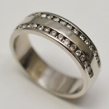 14k White Gold Band with Channel Set RBC Diamonds 0.32 tcw, Ring Size 9.5
