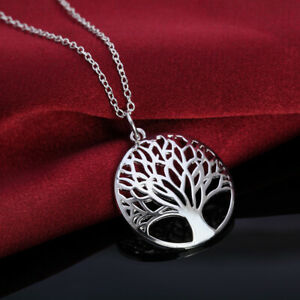 925 Sterling Silver Necklace Jewelry Charm tree of Life women Fashion Cute charm