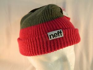 Neff Snappy Beanie Trio Magenta-Red/Grey/Black One Size Fits All ~ NEW