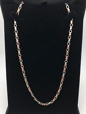 """New Men's 14K Solid Two Tone White and Rose Gold Link 16"""" Chain Necklace 4.2mm"""