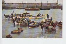 Landing fish to horse drawn carts at St Ives, Cornwall