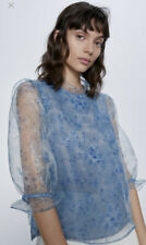 Zara M Blue Floral Ruffle Organza Blouse SOLD OUT Designer Inspired Sheer