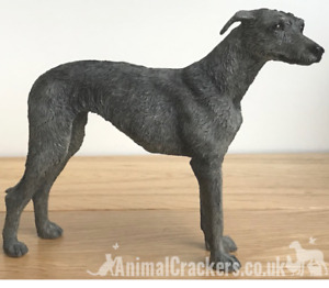Grey Lurcher ornament sculpture statue lifelike Leonardo figurine, gift boxed