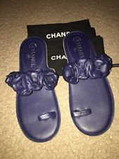 Chanel Navy Leather Camellia Toe Ring Flower Sandals Slides Shoes Size 39