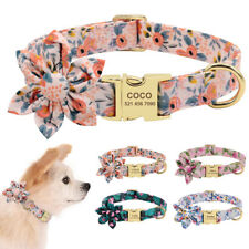 Personalized Dog Collar with Big Flower Custom Engraved Plate Pet Name & Phone