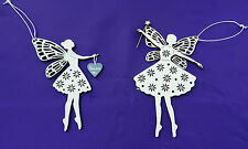 2  Wooden Fretwork Fairy Christmas Tree Hanging Ornaments Decoration