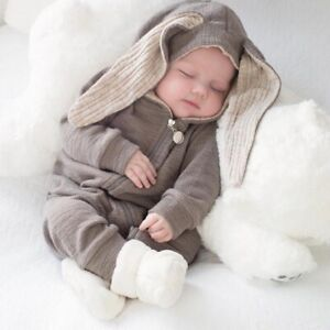 Greenberry Kids Ando Lala Bunny Ears Hood Jumpsuit Grey XS 0-6 Months Sold Out