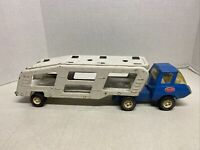 """Vintage TONKA """"Motor Mover"""" - Truck And Car Carrier Trailer Pressed Steel - 1977"""