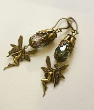 Artisan magical fairy Victorian style antiqued brass dangling drop earrings