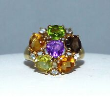 9Kt Gold Ring Diamond Tourmaline Citrine Amethyst  Cocktail Ring Cost $1500
