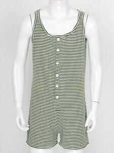 Men's One-piece Sleeveless Striped Pajamas Romper Sleepwear Button Down Bodysuit