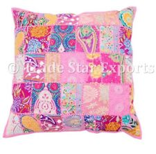 """Indian Patchwork Cushion Cover Vintage Embroidered Throw 22x22""""Pillow Case Decor"""