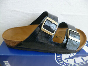 Birkenstock Arizona Zapato Abierto Sandalias Magic Snake Black 1009124 Nuevo