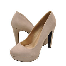 Womens Shoes Qupid Pitri 01 Closed Toe Faux Suede Pump Taupe *New*